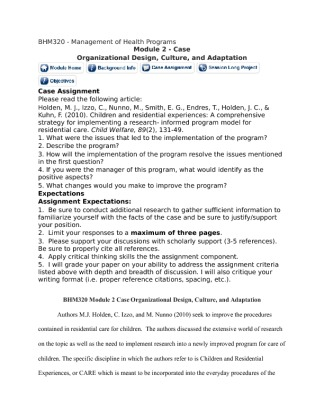 Bhm320: Management of Health Programs/Moduel 4 Case Assignment