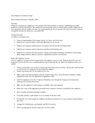 script for orienting new employees Isunew a supervisor's guide to the new employee welcome program what this guide will do for you the office of human resources at indiana state university has designed.