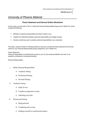 university of phoenix thesis statement and informal outline worksheet