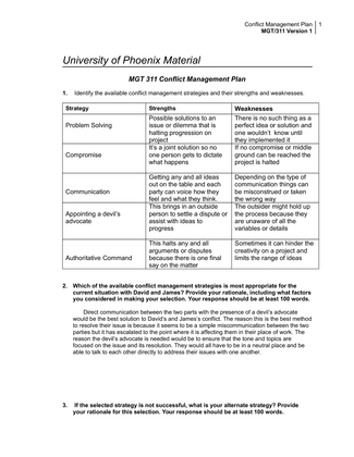 Conflict management plan Essay Sample