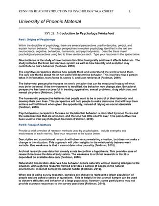 biological psychology worksheet university of phoenix