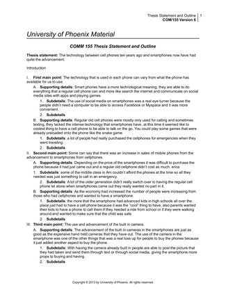 thesis statement and outline university of phoenix