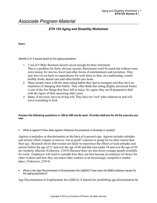 aging and disability worksheet eth 125 week8 Search results for 'aging and disability version 8' aging and disability worksheet eth 125 aging and disability worksheet aging and disability worksheet part 1 identify 2 or 3 issues faced by the aging population.