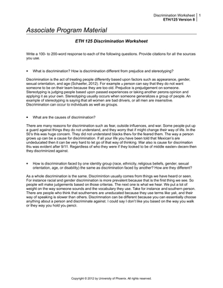 eth 125 what are the causes of discrimination Eth 125 tutorone eth 125 eth 125 discrimination worksheet what are the causes of discrimination how is discrimination faced by one identity group.