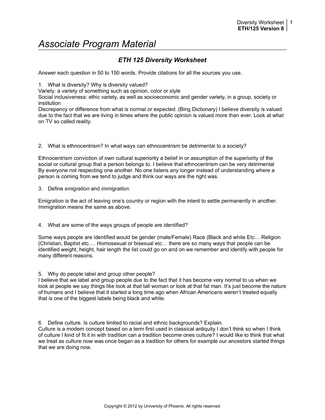 eth 125 week 1 why do people label and group other people Why do people label and group other people essay on eth 125 week 8 appendix i modified more about essay about eth 125 diversity worksheet.