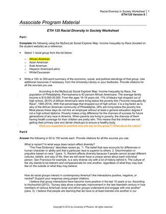 eth 125 week 1 diversity worksheet Many cultures, strength through diversity is a selection of the paper  presentations,  1 jean erdman & hula: cultural dance traditions as creative  wellspring.