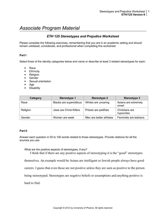 aging and disability worksheet eth 125 week8 Associate program material aging and disability worksheet part i identify 2 or 3 issues faced by the aging population 1 eth125 r8 disability diversity 1760 words 8 pages show more associate program material aging and disability worksheet part i.