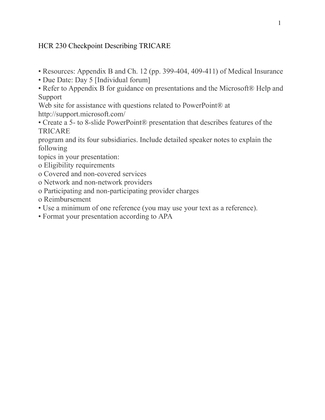 tricare presentation essay This file of hcr 230 week 4 assignment the tricare  essay research  day 5 [individual forum] refer to appendix b for guidance on presentations and.