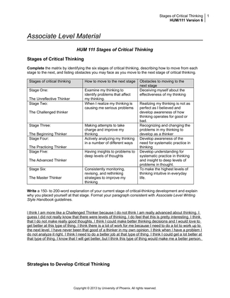 four stages of critical thinking in nursing Bachelor of nursing degree coa children's of alabama hospital ct critical thinking cbt computer based training ci confidence interval (in statistics) df degrees of freedom (in statistics) achieved through the four stages of the elt cycle: experiencing, reflecting, thinking, and acting (kolb, 1984) figure 1 shows.