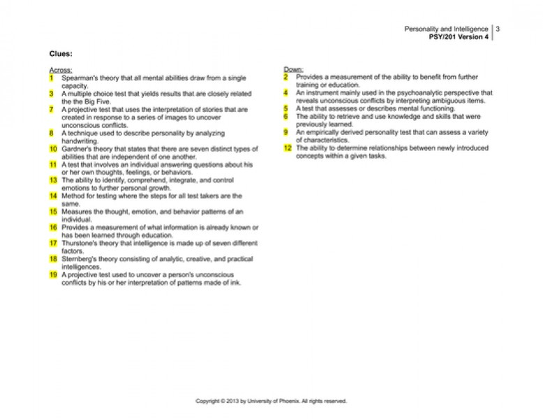 psy 201 personality intelligence crossword Clarifying the relationship of need for cognition to personality and intelligence  journal of personality and social psychology,  42, 201-212.