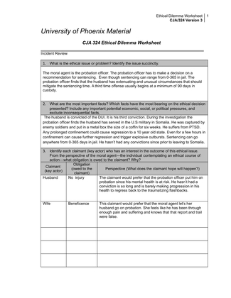 Ethics worksheet