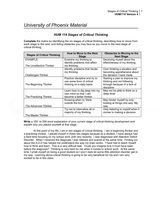 six stages of critical thinking university of phoenix What are the 6 stages of critical thinking save cancel already exists would you like to critical thinking is sequential each stage or step of the thought process must be analyzed and found to be correct before moving on to the next step and the next step.