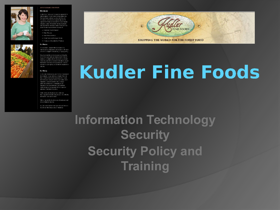 kudler fine foods communication protocol Kudler network analysis kudler fine foods is a local upscale specialty food store located in the san diego network protocols 5 data integrity 6 data.