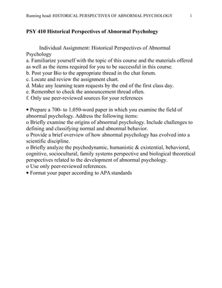 Historical Perspectives of Abnormal Psychology - Essay Example