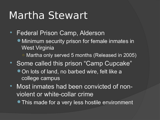 federal prison comparison Create a matrix using microsoft® excel® or word, and create a powerpoint® in which you describe the prisons where the following individuals were incarcerated: (the facilitator will.