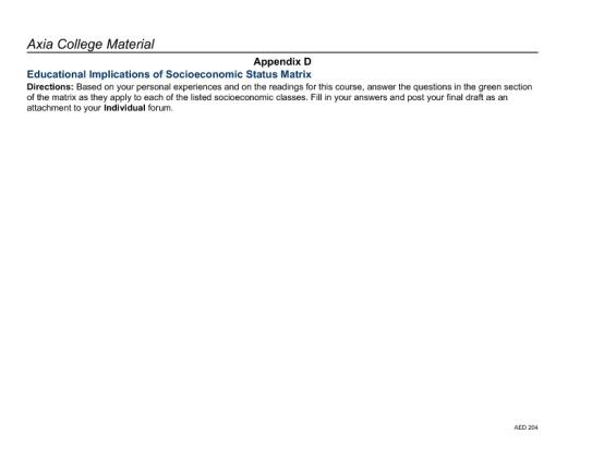 appendix d educational implications of socioeconomic status matrix aed 204 week two Aed 204 week 2 assignment educational implications of socioeconomic status (appendix d)  educational implications of socioeconomic status matrix.