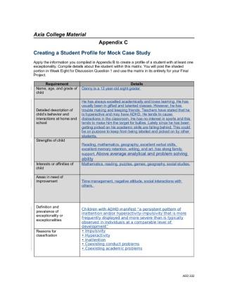Mock case study