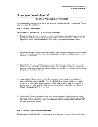 hca 230 conflicts are important worksheet Powerpoint slideshow about 'hca 230 uop course tutorial/uophelp' - astoneartha conflicts are important worksheet, located on your student website.