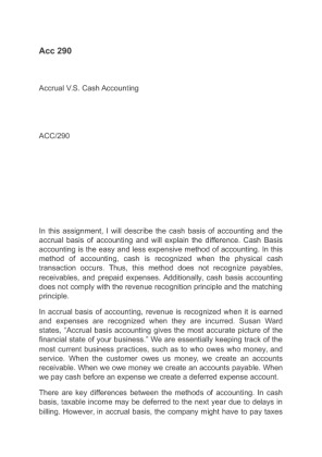 cash and accrual essay A definition of accrual basis accounting and an explanation of how accrual basis accounting and cash basis accounting differ.