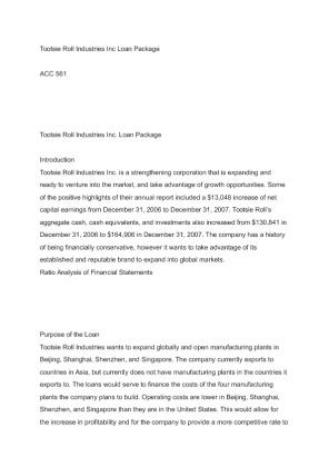 Tootsie Roll Industries Inc. Loan Package Essay