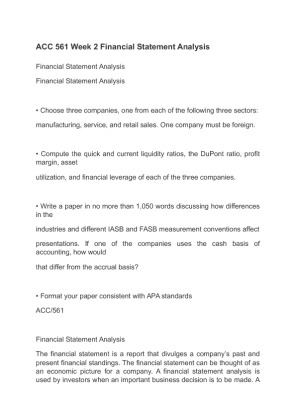 financial ratio analysis report essay example This free finance essay on essay: financial statement analysis is perfect for finance students to use as an example tel  various financial ratios of the .