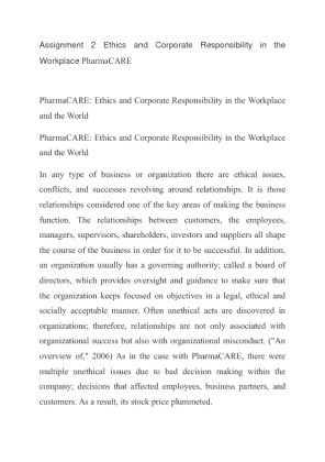 ethics and corporate responsibility in the workplace and the world 2 essay Ethics in the workplace financial difficulties in an organization are certainties that are part of the dynamics in the corporate world no matter how much control the organization would have on its members.