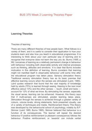 Essays learning theories
