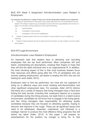Anti Discrimination Policy Template BUS 670 Week 5 Assignment Anti Discrimination Laws Related To Employment