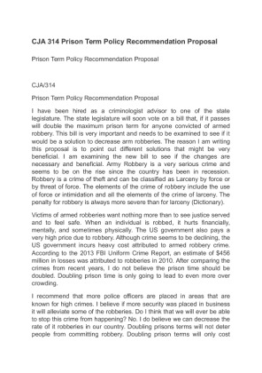 Prison term policy recommendation paper