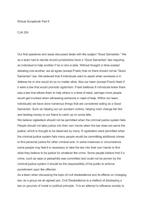 ethical scrapbook part 2 Writing an effective thesis statement a thesis statement helps unify a paper it should summarize the main point and guide the paper's development  2 a thesis.