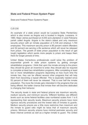 state and federal prison system This paper will discuss the state and federal prison systems and their respective histories, recent growth in prisoner populations, different types of facilities.