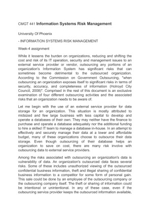 cmgt 411 week 4 risk management Uop cmgt 442 week 1 outsourcing risks  uop cmgt 442 week 3 risk assessment matrix new  information security governance and risk management .