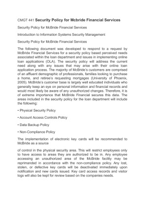 mcbride financial security policy cmgt 441 Find financial services example essays, research papers, term papers, case  studies  sr-mf-001, located in the service requests mcbride financial  services site,  policies in healthcare organizations regardless of the financial  environments  power generation, water processing, security technology,  medical imaging,.
