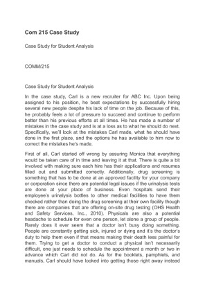 case study for abc inc comm 215 Case study analysis of abc, incintroductioncarl robins, a newly hired recruiter for abc, inc, hired 15 new employees these newly hired employees will be working for.