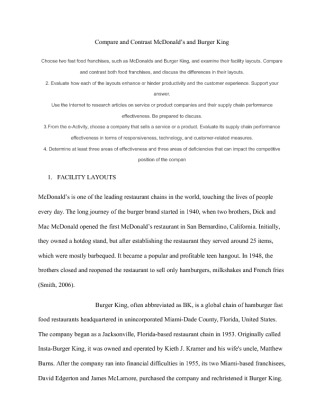 compare contrast burger king and Mcdonald vs burger king compare and contrast essay 688 words   3 pages mcdonald's and burger king are similar they have evident differences in their advertising models, food and their commitment with the community.