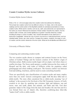 week 2 cosmic creation myths across Cosmic creation myths across cultures norse creations and chinese creation have similarities and differences - cosmic creation myths across cultures introduction.