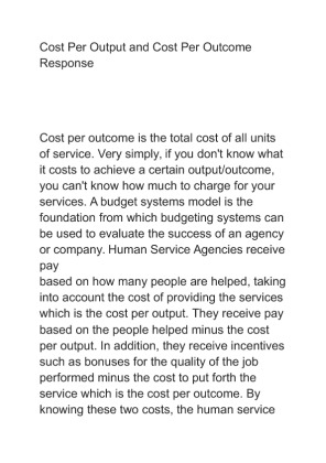 cost per outcome Oracle white paper— how providers can lower costs and improve patient care using evidence based medicine 2 one of the most significant obstacles to improved patient care, at a reasonable cost, is.
