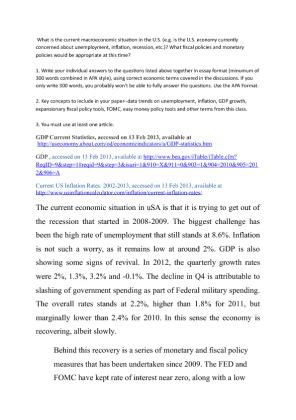 essay on current u.s. economy