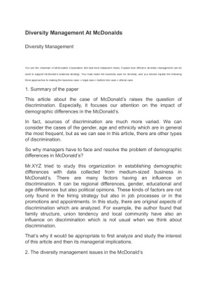 diversity located at mcdonalds essay