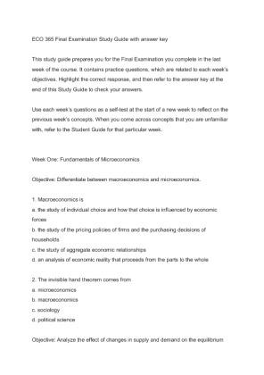 Economics Final Exam Study Guide - studyhippo.com