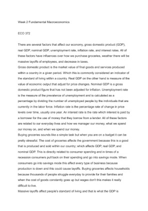 eco 372 week 2 individual Week 2 fundamental macroeconomics october 22, 2012 eco/372 there are several factors that affect our economy, gross domestic product (gdp), real gdp, nominal gdp, unemployment rate.
