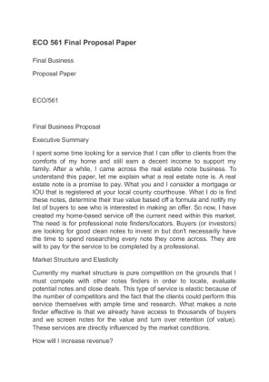Business proposal essay