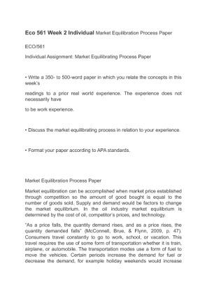 Market Equilibration Process Final Paper