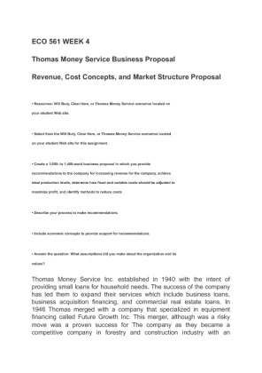 bussiness proposal eco561 Eco 561 week 4 business proposal, reflection, discussion, quiz best resources for homework and assignment help all tutorials are delivered immediately via e-mail.