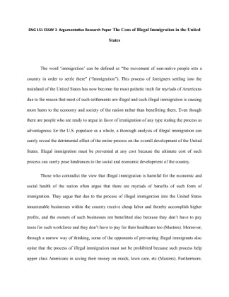 Immigration term paper
