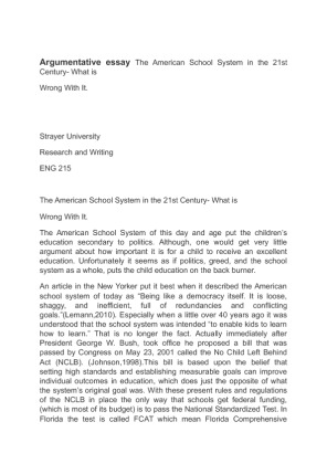 Secondary Education research argument essay