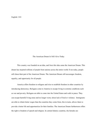 The american dream is alive essay