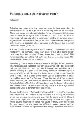 fallacious argument essay Argumentative essay although this essay is argumentative either/or: this fallacy condenses your argument to only two points of view.