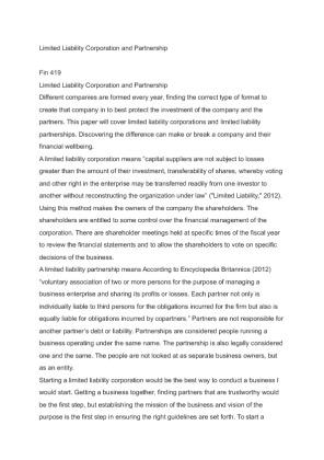 limited liability corportations and partnerships essay