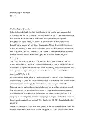 Starbucks Working Capital Strategies Essay